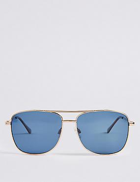 Polarised Slim Aviator Navy Lens Sunglasses, , catlanding
