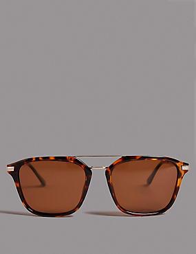 Polarised Square Brow Bar Sunglasses, , catlanding