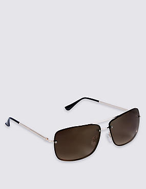 Slim Aviator Rimless Sunglasses