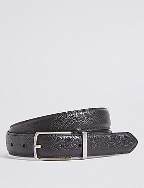 Leather Buckle Belt, BLACK, catlanding