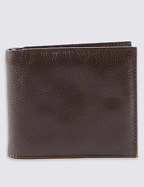 Leather Slim Popper Bi Fold Wallet with Cardsafe™, BROWN, catlanding