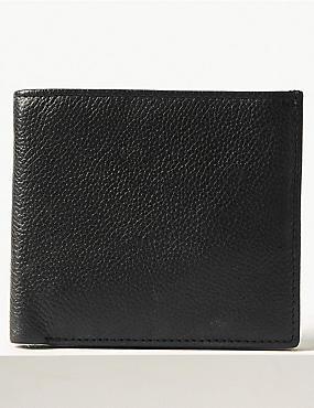 Leather Slim Popper Bi Fold Wallet with Cardsafe™, BLACK, catlanding