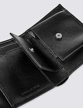 Leather Saffiano Tri Fold Coin Wallet with Cardsafe™