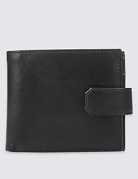 Leather Saffiano Coin Bifold Wallet with Cardsafe™