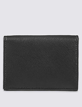 Leather Saffiano Card Case Wallet