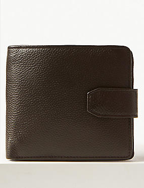 Leather Classic Bi Fold Coin Wallet with Cardsafe™, BROWN, catlanding