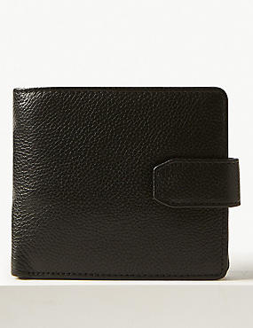 Leather Classic Bi Fold Coin Wallet with Cardsafe™, BLACK, catlanding