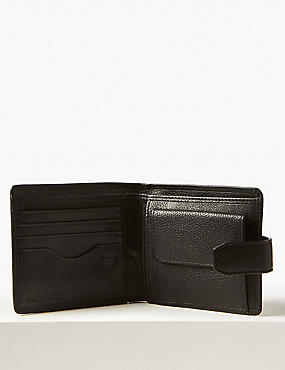 Leather Bi Fold Coin Wallet with Cardsafe™