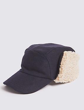 Baseball Cap with Wool, NAVY, catlanding