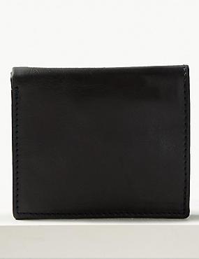 Leather Bi Fold Wallet with Cardsafe™, NAVY, catlanding