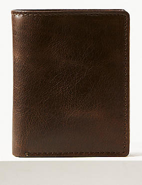 Leather Bi Fold Wallet with Cardsafe™, BROWN, catlanding