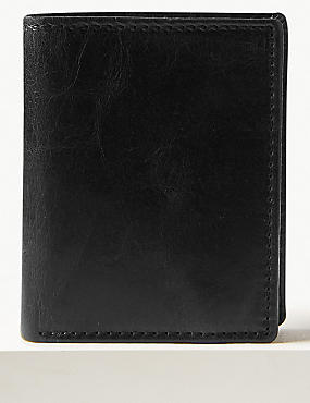 Leather Tri Fold Wallet, BLACK, catlanding