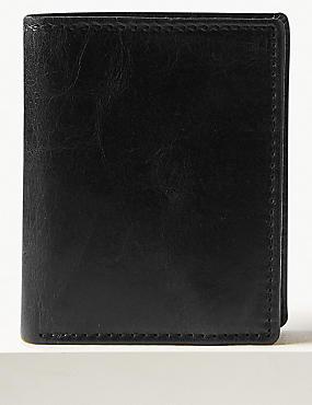 Leather Bi Fold Wallet with Cardsafe™, BLACK, catlanding