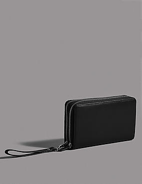 Leather Double Travel Wallet, , catlanding