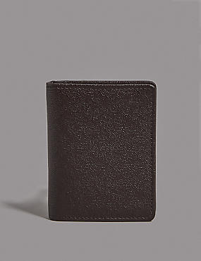 Leather Micro Pebble Wallet with Cardsafe™, BROWN, catlanding