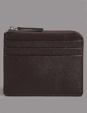 Pebble Grain Leather Card Wallet with Cardsafe™, BROWN, catlanding