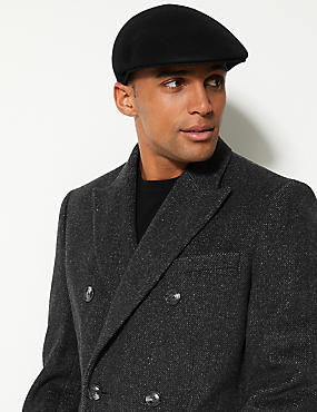Pure Wool Flat Cap with Stormwear™, BLACK, catlanding