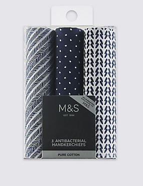 3 Pack Pure Cotton Assorted Handkerchiefs