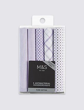 5 Pack Pure Cotton Assorted Handkerchiefs