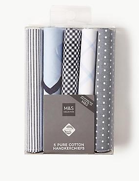 5 Pack Pure Cotton Handkerchiefs with Sanitized Finish®, BLUE, catlanding