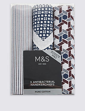 3 Pack Pure Cotton Assorted Anti-Bacterial Handkerchiefs