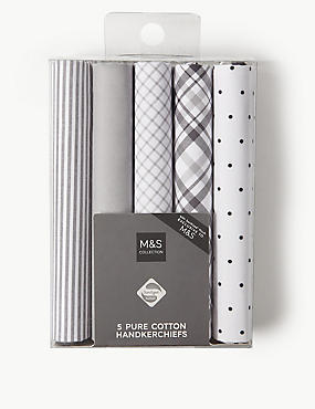 5 Pack Pure Cotton Handkerchiefs with Sanitized Finish®, GREY, catlanding