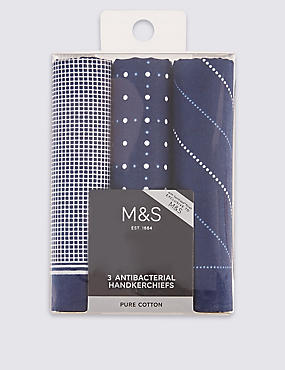 3 Pack Pure Cotton Handkerchiefs with Sanitized Finish®, NAVY MIX, catlanding