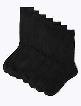 7 Pack Cool & Freshfeet™ Cotton Rich Socks, BLACK, catlanding