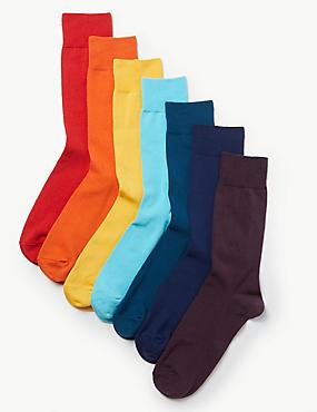 7 Pack Cotton Rich Cool & Freshfeet™ Socks, BRIGHTS, catlanding