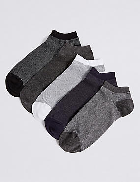 5 Pack Cool & Freshfeet™ Trainer Liner Socks, MULTI, catlanding