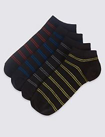 4 Pairs of Multi Striped Trainer Liner Socks