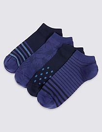 4 Pairs of Cotton Rich Socks