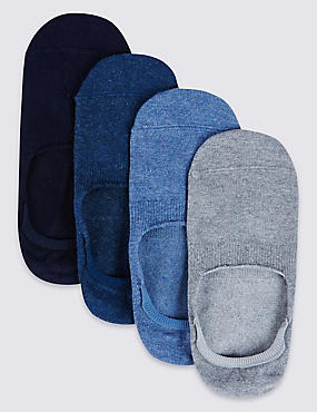 4 Pack Cool & freshfeet™ Invisible Shoe Liners, NAVY MIX, catlanding