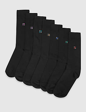 7 Pairs of Freshfeet™ Cotton Rich Square Print Socks