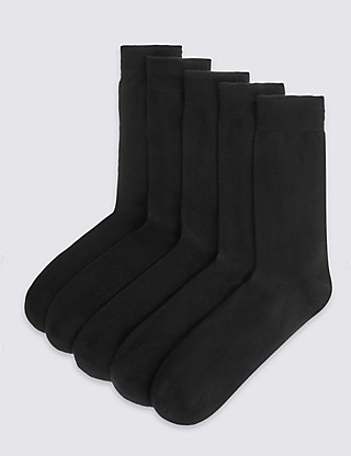 5 Pairs of Freshfeet™ Cotton Rich Cushioned Sole Socks Clothing