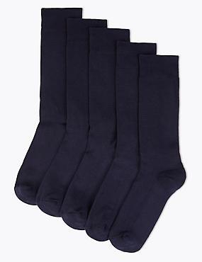 5 Pack Cool & Freshfeet™ Cushioned Sole Socks, NAVY, catlanding