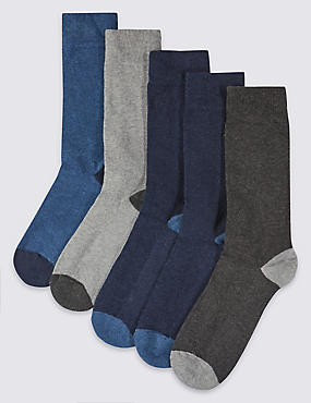 5 Pairs of Freshfeet™ Stay Soft Cotton Rich Assorted Socks with Silver Technology