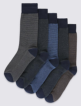 5 Pairs of Freshfeet™ Cotton Rich Blue Striped Socks with Silver Technology