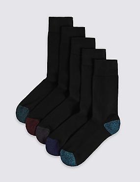 5 Pack Cool & Freshfeet™ Cushioned Sole Socks, BLACK MIX, catlanding