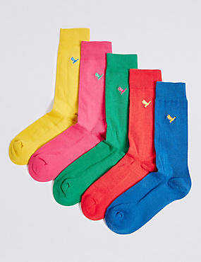 5 Pack Cool & Freshfeet™ Cotton Rich Socks, MULTI/BRIGHTS, catlanding