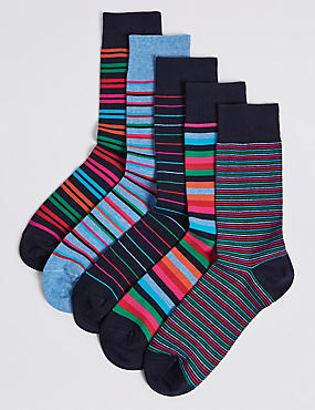 5 Pack Cool & Freshfeet™ Striped Socks