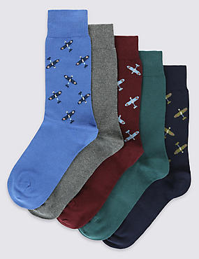 5 Pairs of Cotton Rich Spitfire Socks