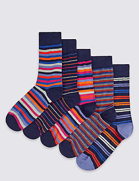 5 Pairs of Freshfeet™ Striped Socks