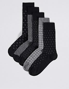 5 Pack Cool & Freshfeet™ Assorted Socks, BLACK MIX, catlanding
