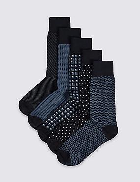5 Pack Cool & Freshfeet™ Assorted Socks, NAVY MIX, catlanding