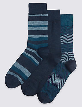 3 Pair Pack Striped Socks