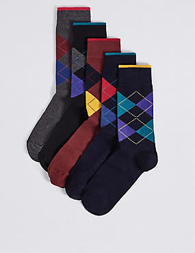 5 Pairs of Cool & Freshfeet™ Argyle Socks