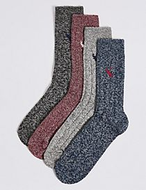 4 Pairs of Cotton Rich Embroidery Socks