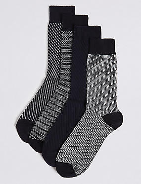 4 Pairs of Cotton Rich Assorted Socks
