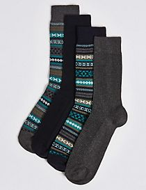 4 Pairs of Cotton Rich Textured Fairisle Socks